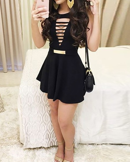 Ladder Cut Out Front Pleated Dress