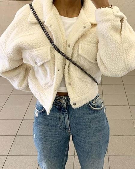 Fluffy Plain Pocket Design Teddy Coat