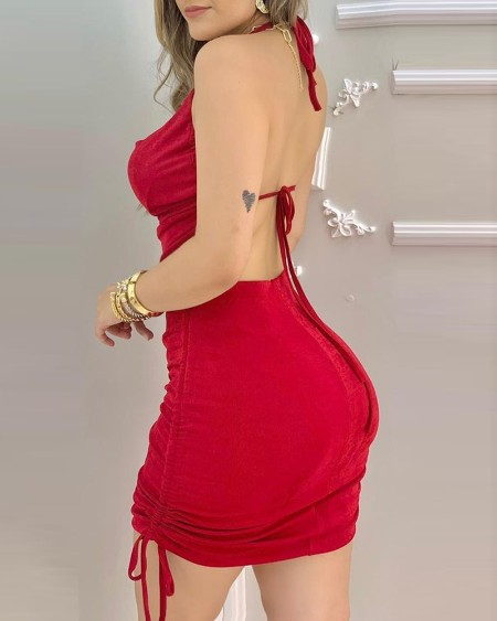 Halter Backless Drawstring Ruched Bodycon Dress