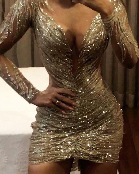 boutiquefeel / Ruched Design Sequin Bodycon Dress