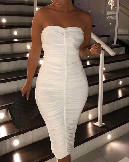 Solid Ruched Design Tube Slinky Dress