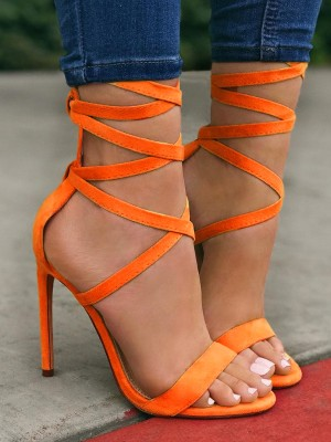 Solid Strappy Open Toe Heel Sandals