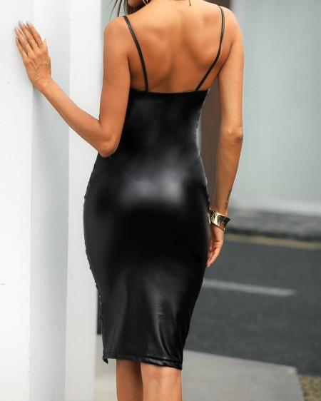 Sexy PU High Slit  Bodycon Slip Dress