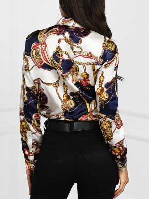 Chains Print Button Up Blouse