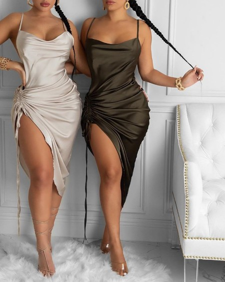 Ruched Drawstring Satin Bodycon Dress