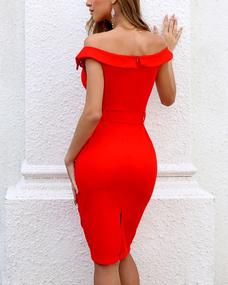 Solid Double Breasted Belted Bodycon Dress