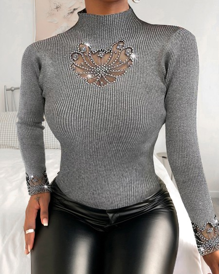 Mock Neck Studded Long Sleeve Sweater