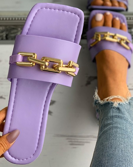 Chain Strap Deocr Square Toe Flat Sandals