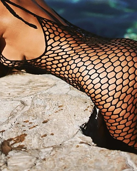 Fishnet Mesh Sleeveless Cover Up