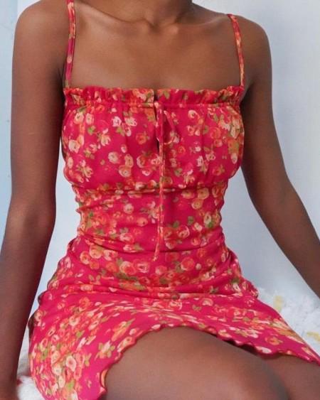 Floral Print Ruffle Trim Cami Dress
