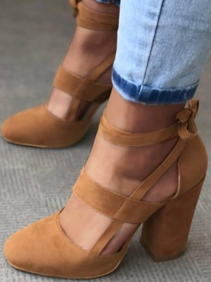 Fashion Caged Bandage Chunky Heels