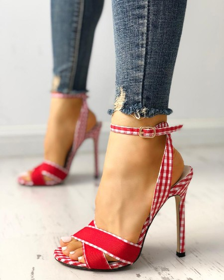 9b900dd3b7 Plaid Print Crisscross Ankle Strap Heeled Sandals ...
