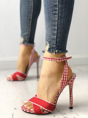 Plaid Print Crisscross Ankle Strap Heeled Sandals