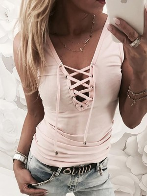 Solid Lace Up Eyelet Tank Top