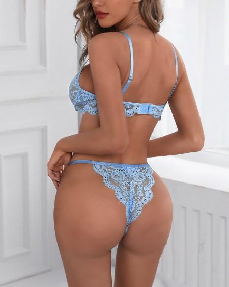 Guipure Lace Sheer Mesh Bralette Set