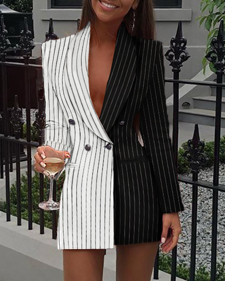 Stripe Patchwork Notched Neck Blazer Dress