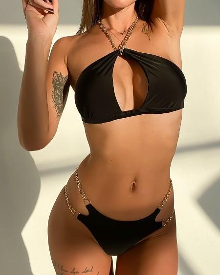 Chain Strap Halter Cutout Backless Bikini Set
