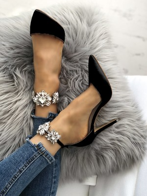 Womens Satin Pointed Toe Rhinestone Ankle Strap Stiletto Heels
