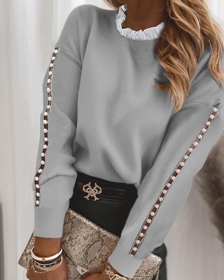 Frill Hem Cutout Beaded Sweater
