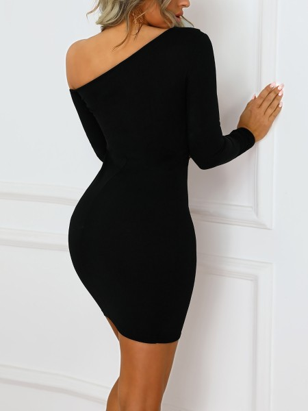 Double Breasted Skew Neck Bodycon Dress