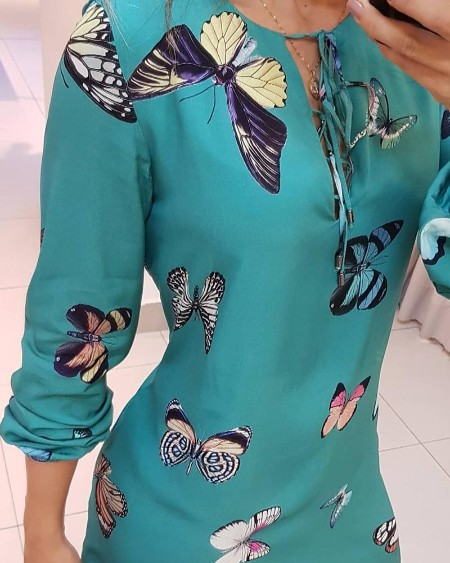 Butterfly Print Tie Front Long Sleeve Dress