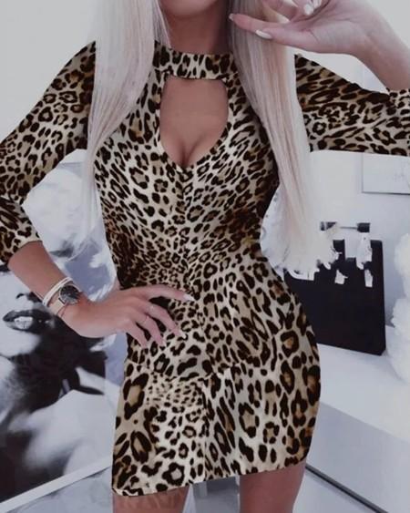 boutiquefeel / Cheetah Chain Print Cutout Front Long Sleeve Bodycon Dress