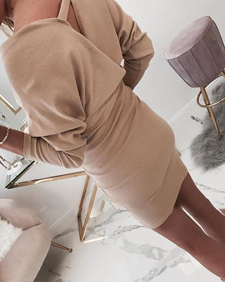 Surplice Wrap V Neck Batwing Sleeve Dress