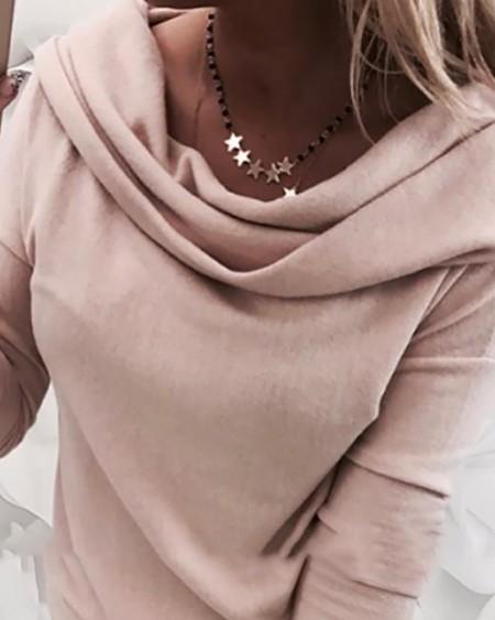 Solid Heap Neck Long Sleeve Sweatshirt