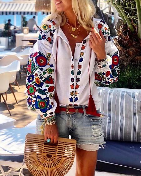 Floral Print Lantern Sleeve Blouse