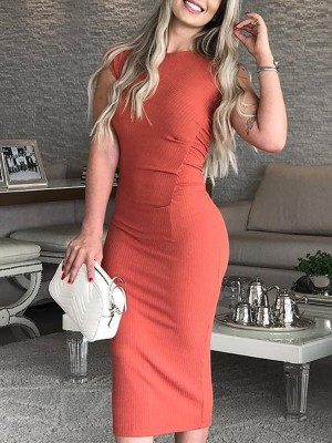 Solid Round Neck Ruched Bodycon Dress