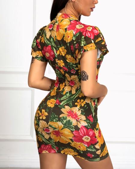 Ruffles Short Sleeve Floral Print Bodycon Dress