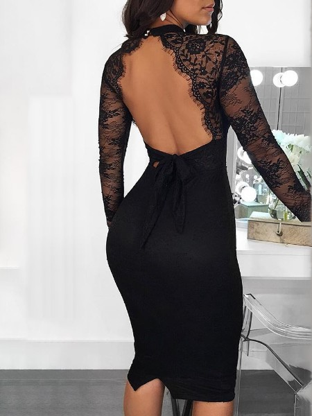 Cut Out Detail Eyelash Lace Insert Backless Dress