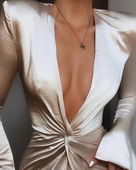 Plunge Twisted Design Slit Cuff Dress