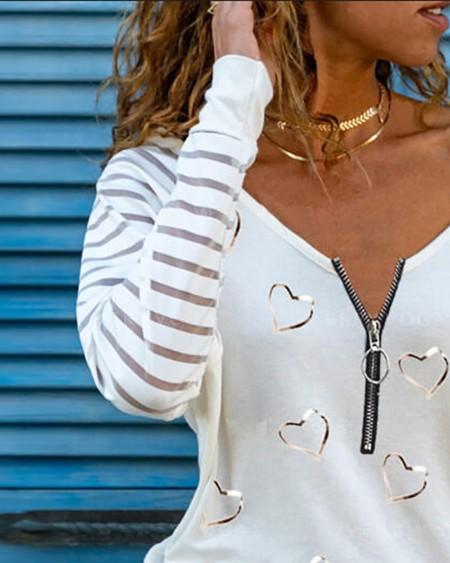 Sheer Mesh Zipper Design T-shirt