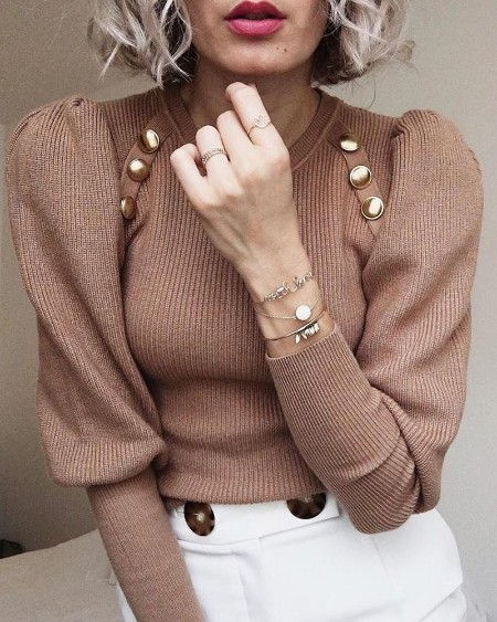 Faux Button Ribbed Top