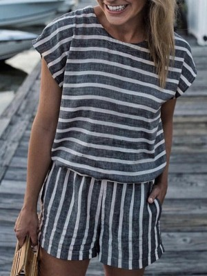 Striped Casual Tee With Shorts Sets