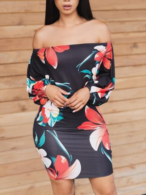 Floral Print Off Shoulder Long Sleeve Dress