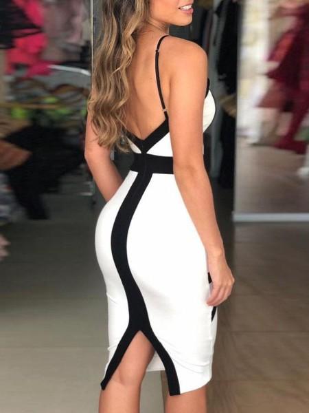 Contrast Striped Insert Spaghetti Strap Dress