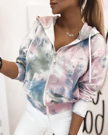 Tie Dye Print Zipper Hoodies Jacket