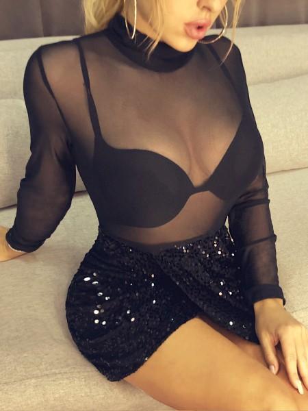 Sheer Mesh Scrunched Slit Sequin Dress