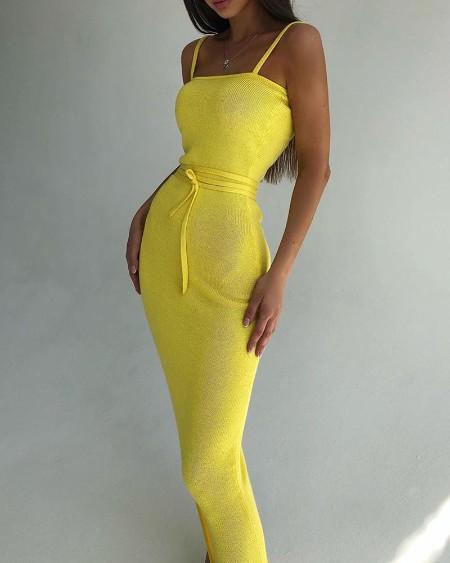 Spaghetti Strap Ribbed Tied Waist Dress
