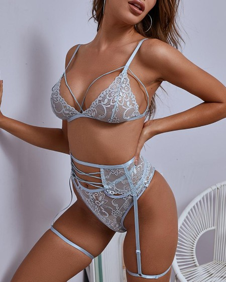 Sheer Mesh Crochet Lace Lingerie Set With Garter