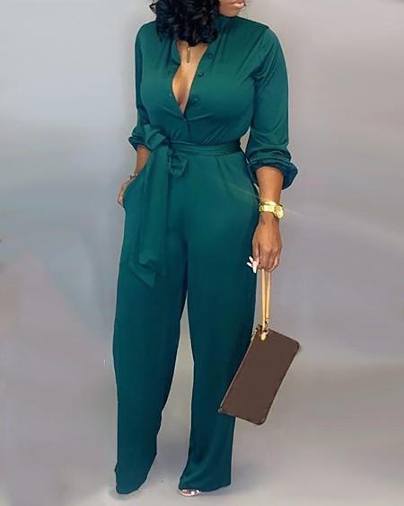Button Up Self Belted Pocket Jumpsuit