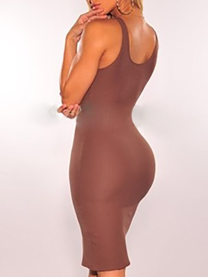 V-Neck Button Through Bodycon Dress