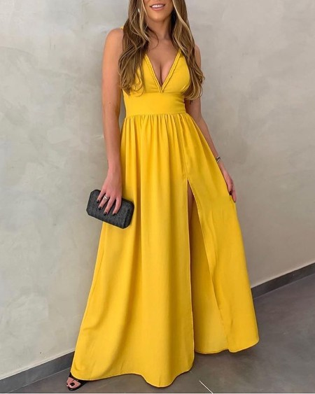 Plunge Thigh Slit Ruched Sleeveless Maxi Dress