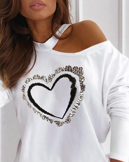 Heart Pattern Sequins Cold Shoulder Long Sleeve Top