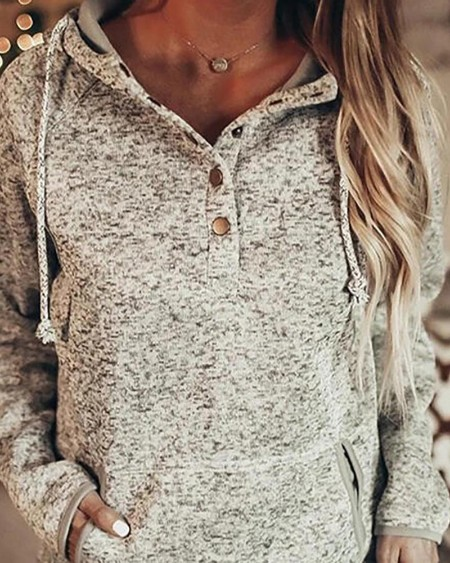 Pocket Design Buttoned Casual Hoodie