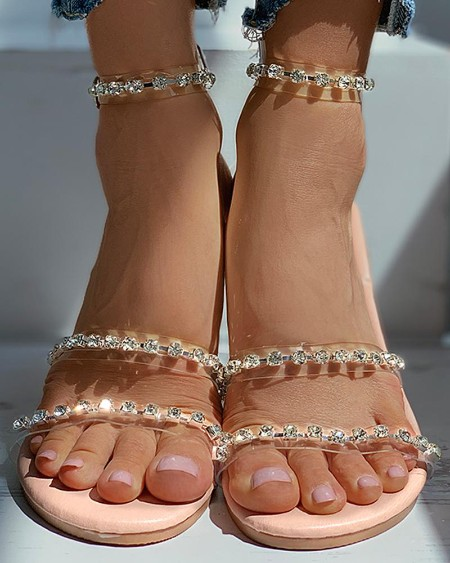Studded Clear Perspex Open Toe Flat Sandals