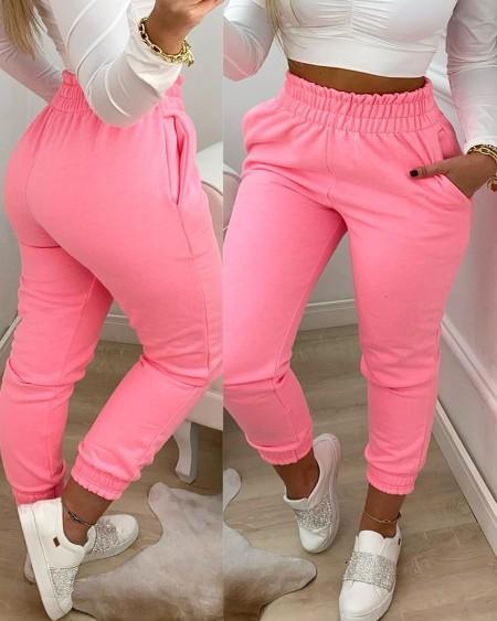 boutiquefeel / Pocket Design Shirring Waist Frill Hem Casual Pants
