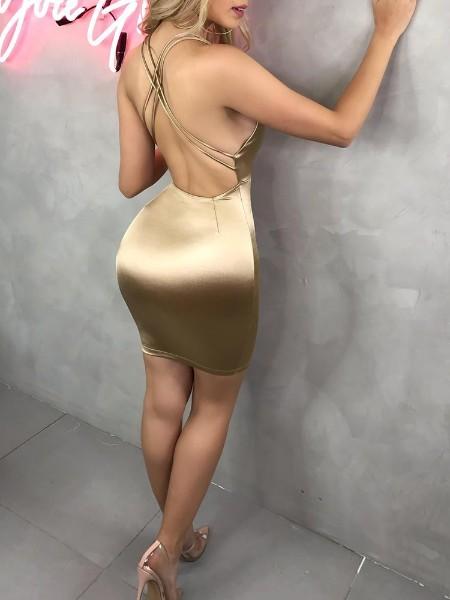 Plunge Crisscross Back Party Dress